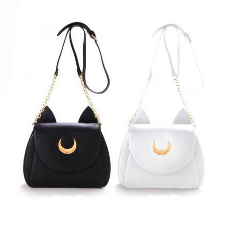 Samantha-Vega-20Y-Limited-Sailor-Moon-Bag-Ladies-genuine-leather-Handbag-Black-White-Cat-Luna-Moon